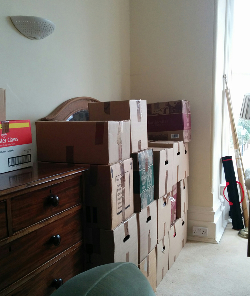 boxes in bedroom