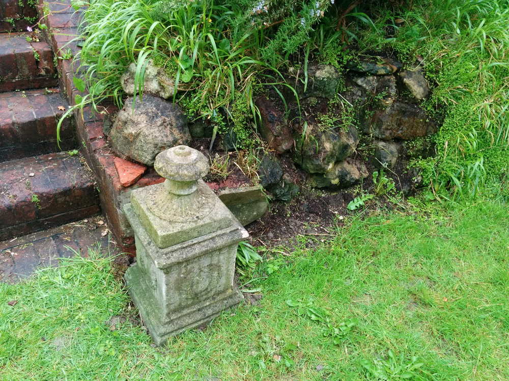 plinth and edge of rockery