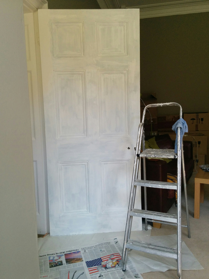 Living room door undercoated