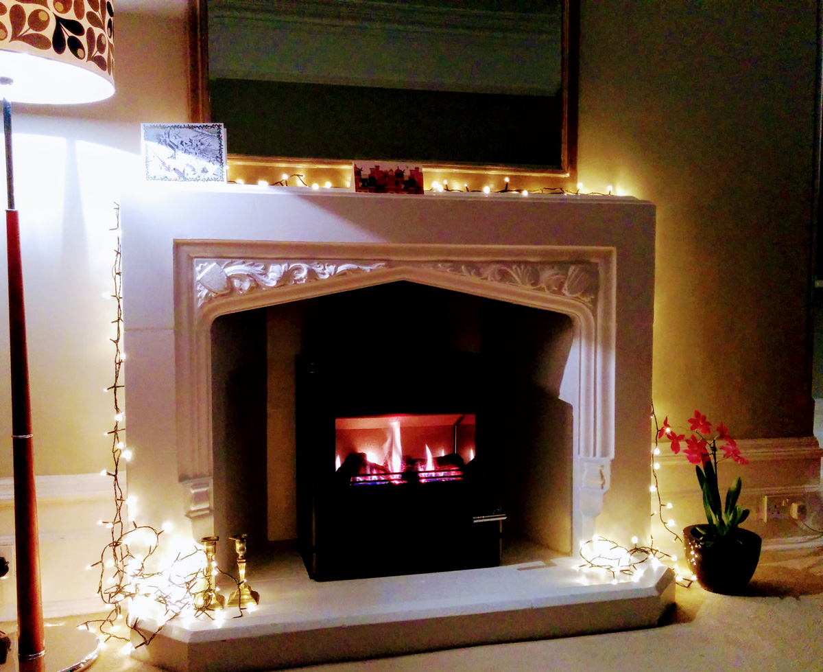 Music room fireplace at Christmas