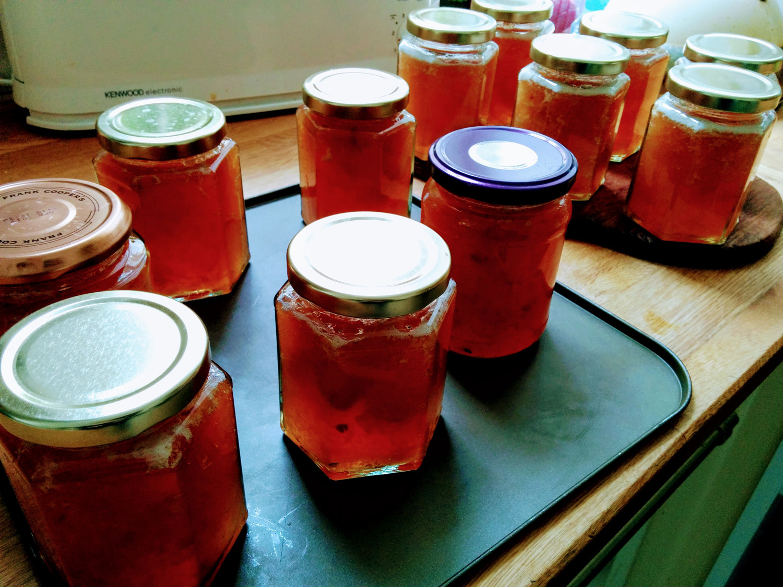 Filled jars of autumn jam