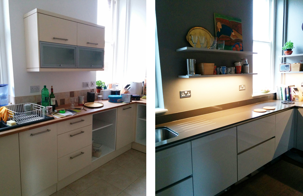 Before & after - German kitchen by Nobilia. From 'An Eastbourne Diary' blog