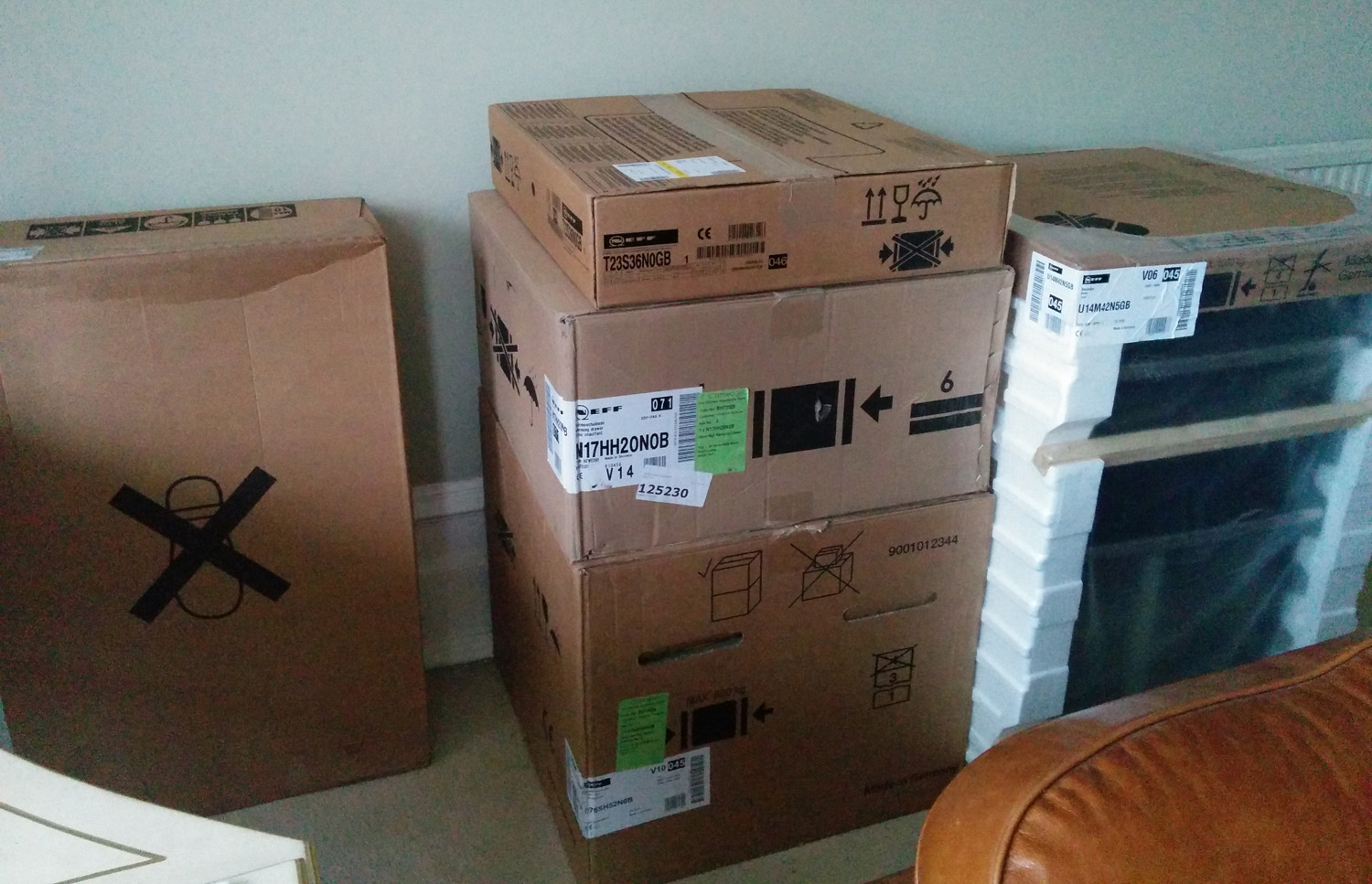 Appliances in their packaging