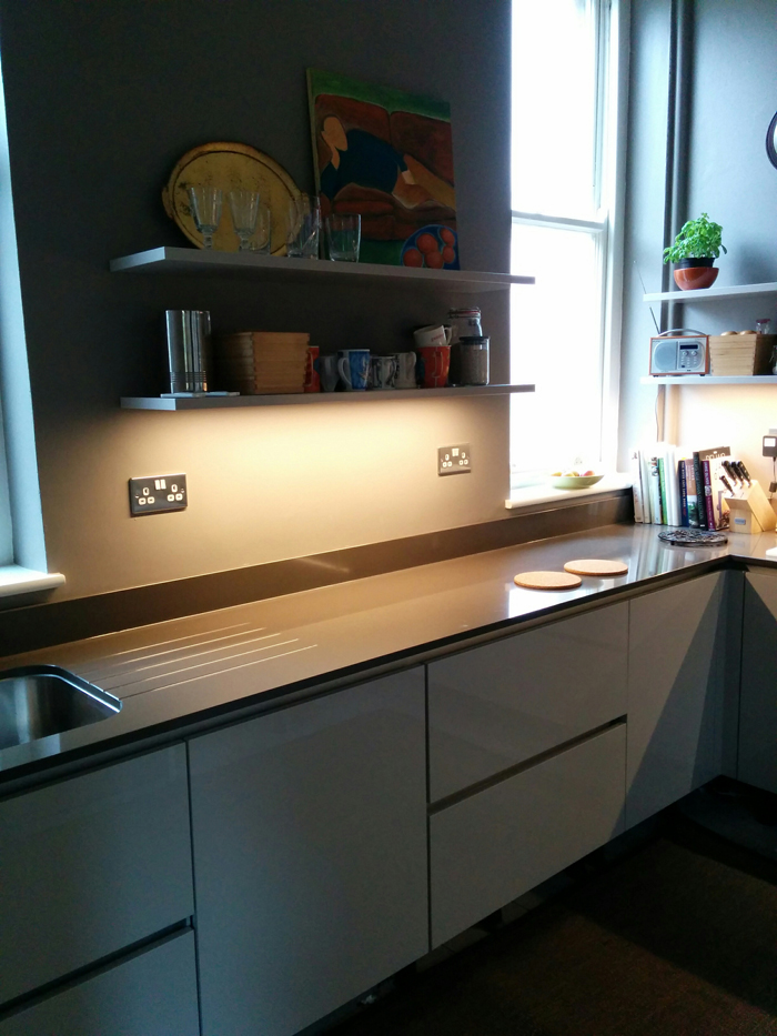 German kitchen by Nobilia. Walls in Charleston Gray by Farrow & Ball. From 'An Eastbourne Diary' blog