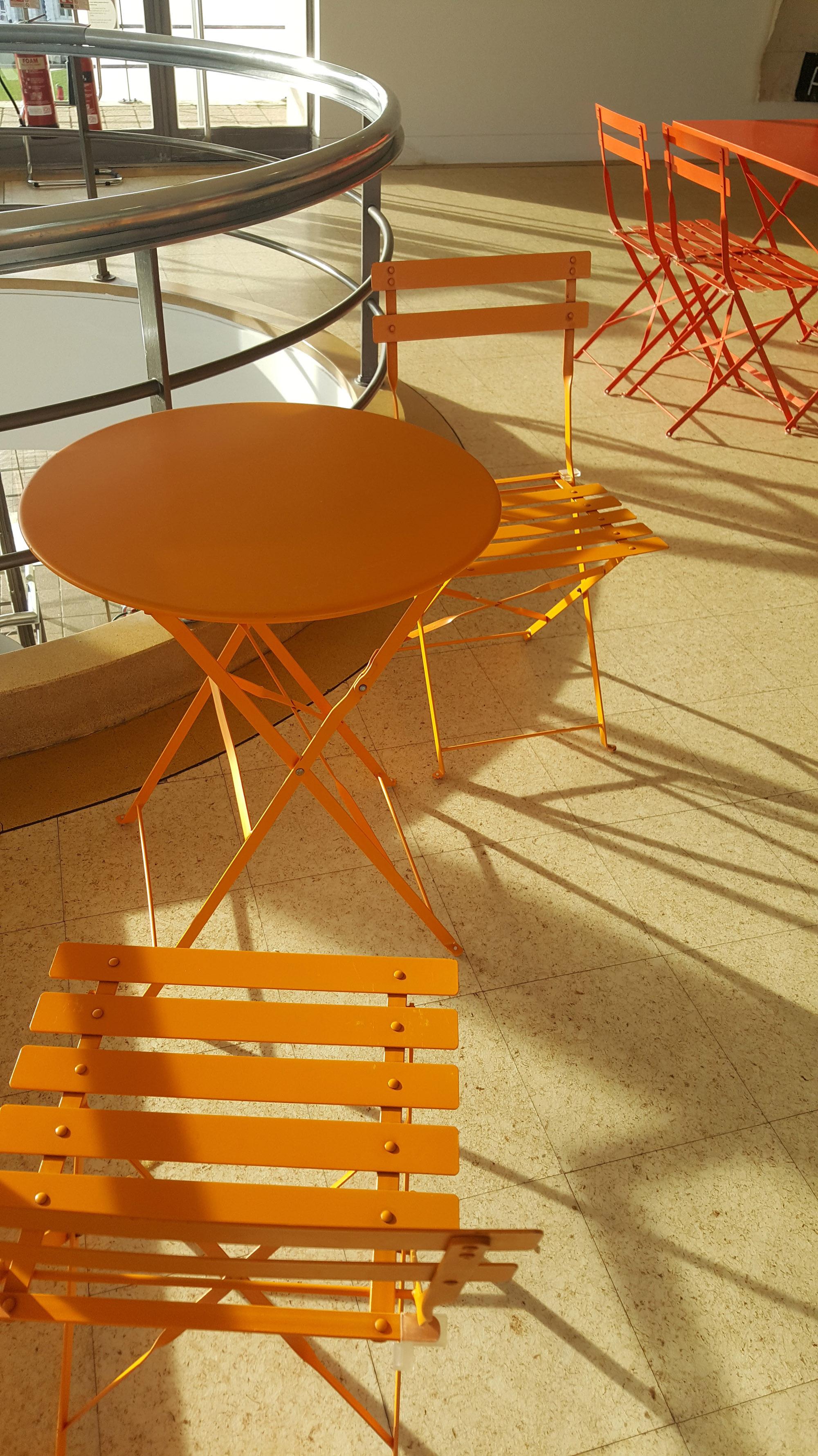 Orange chairs at the De La Warr