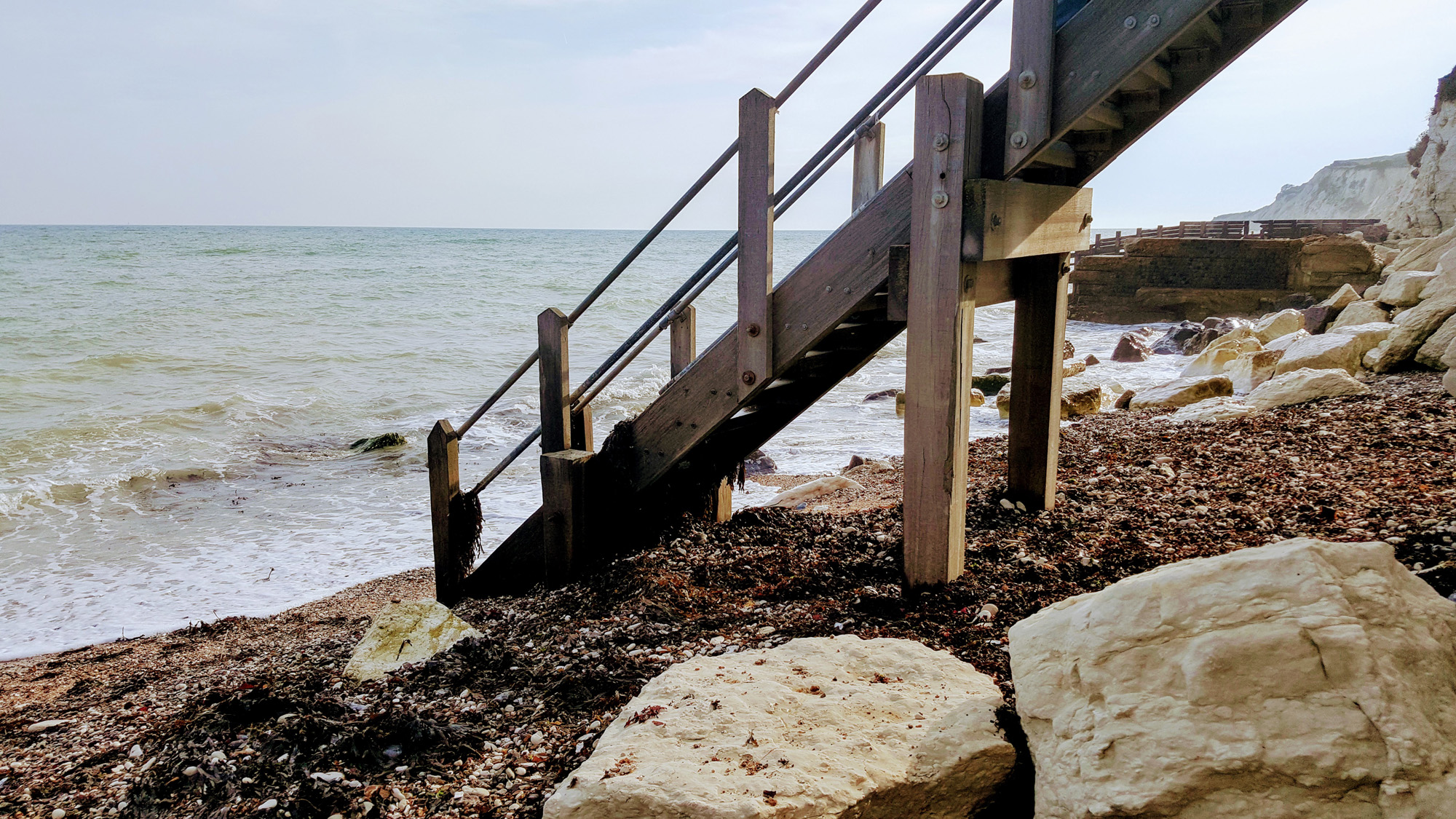 Steps onto the beach at Eastbourne west of Holywell