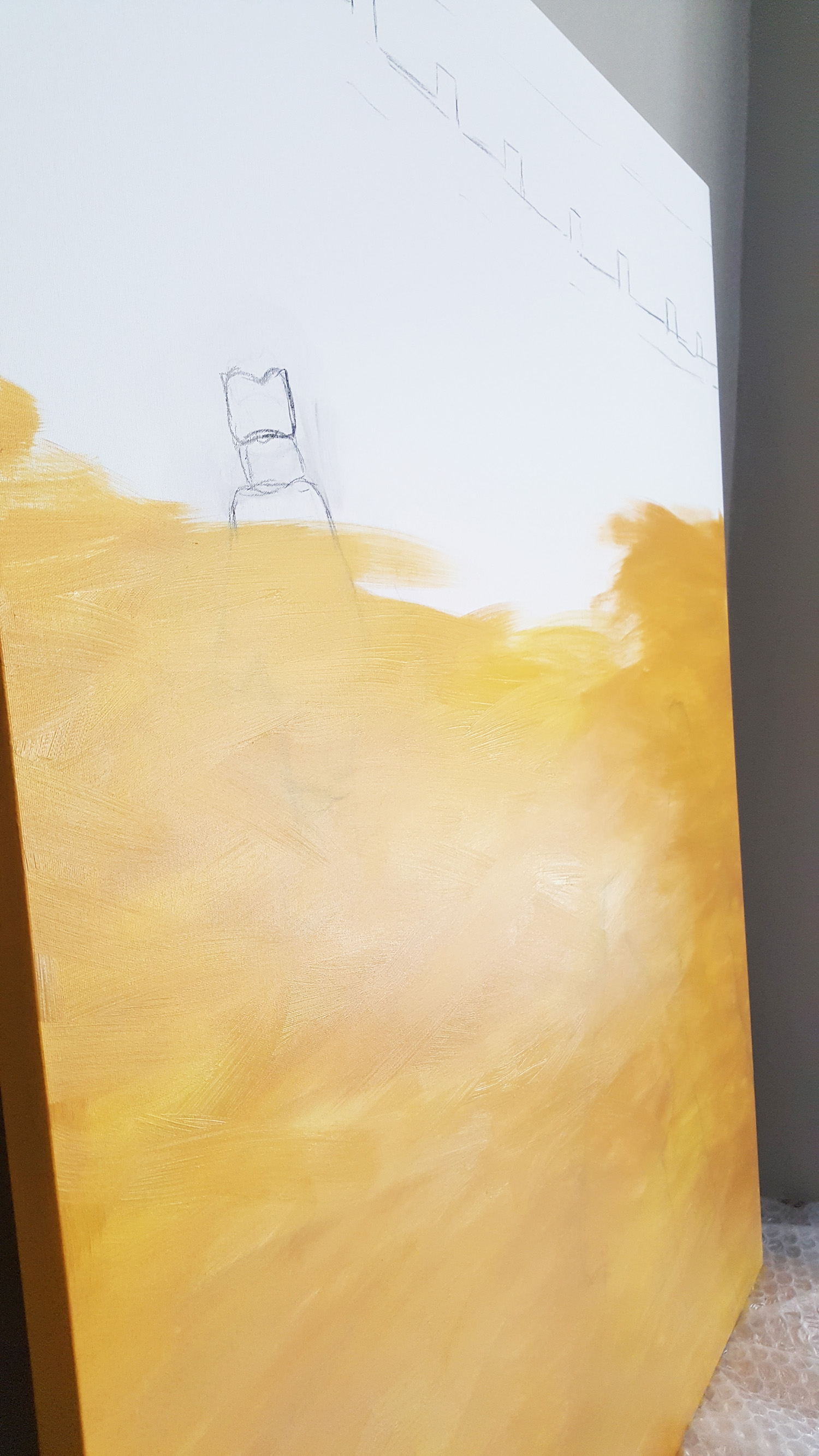 yellow ground going on the canvas