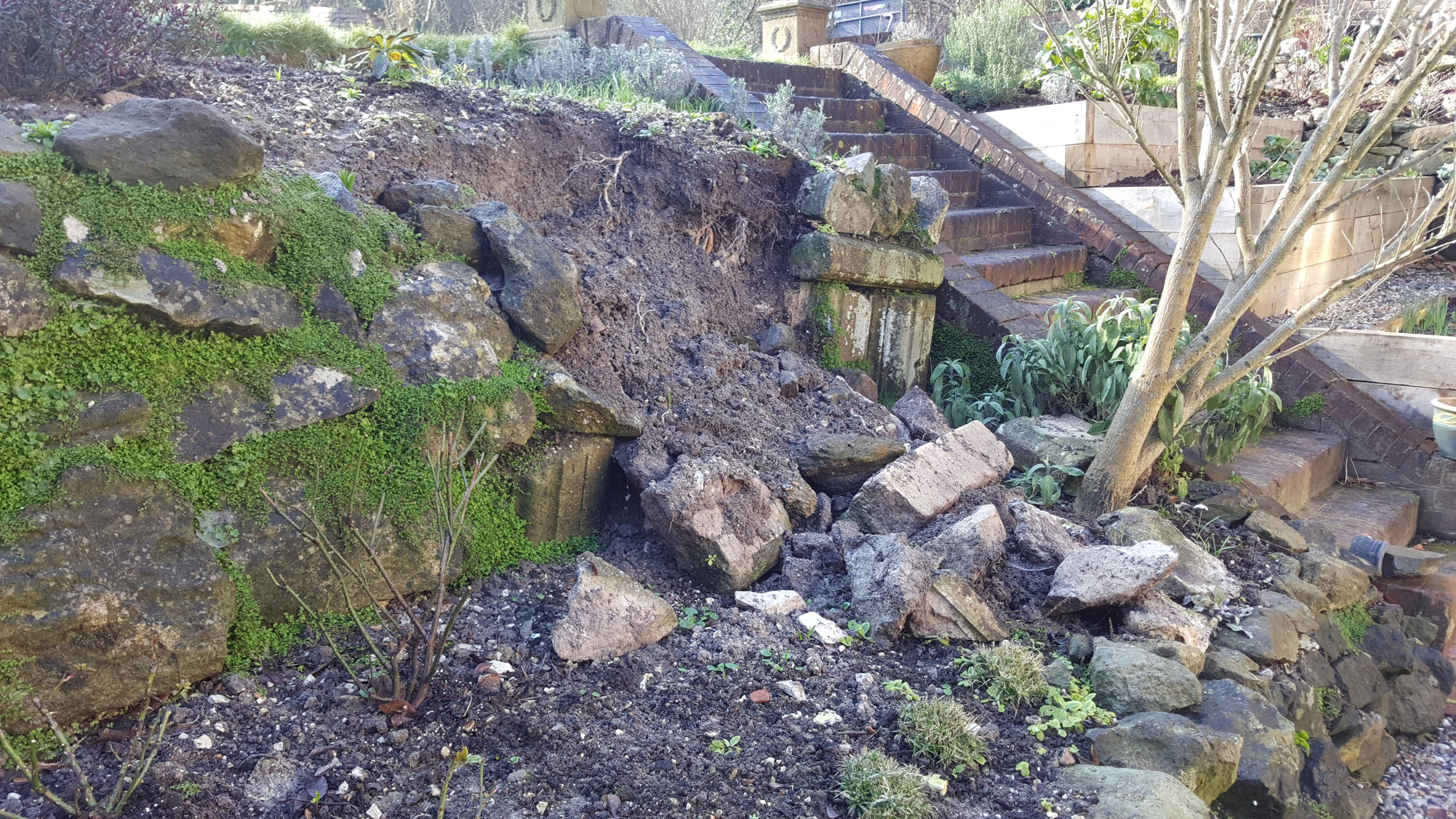 collapsed wall in garden