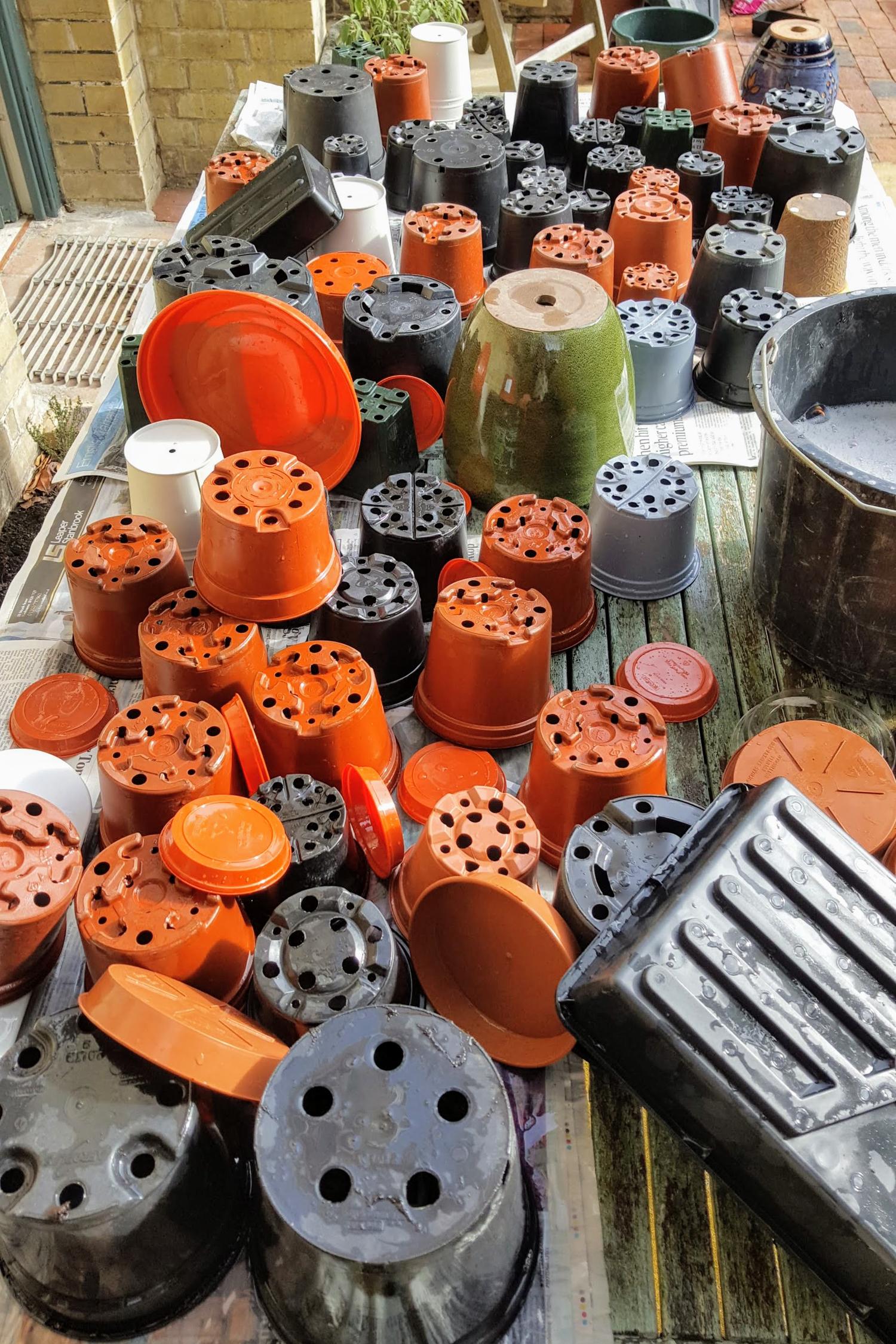 washing garden pots