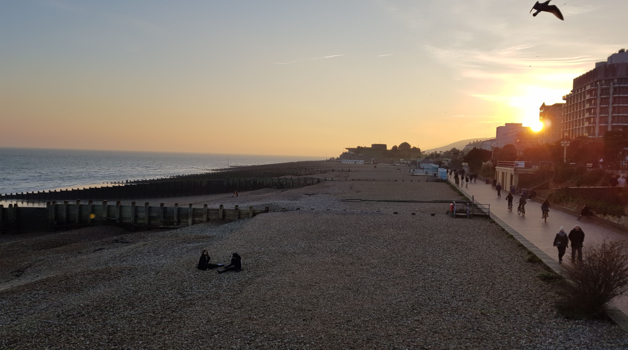 Eastbourne seafront at sunset